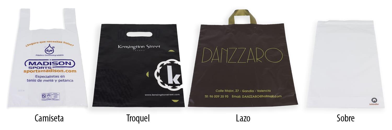 Bolsas de plástico en variedad de colores y de diseños. Estas bolsas están disponibles en bolsas tipo camiseta, bolsas troquel, bolsas lazo y bolsas sobre. Todas estas bolsas están fabricadas con materiales biodegradables
