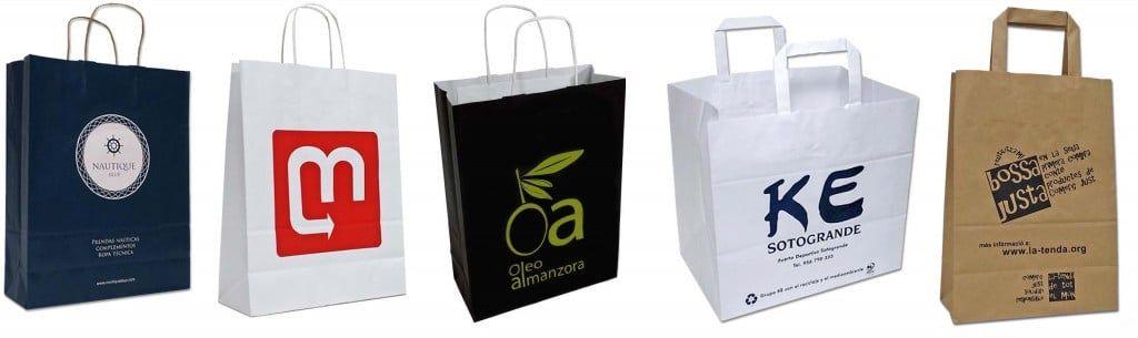Bolsas de papel de uso ideal en comercios y hostelería, en blanco o impresas en serigrafía a partir de 200 unidades con asa de papel retorcido y en gran variedad de colores y formatos